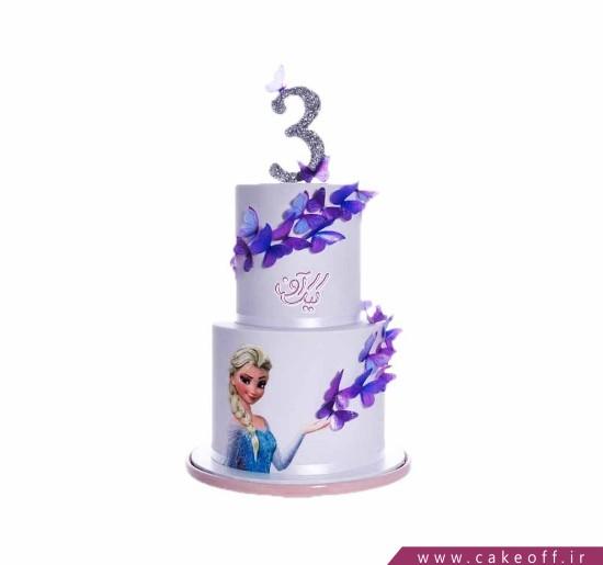 کیک تولد السا و پروانه ها