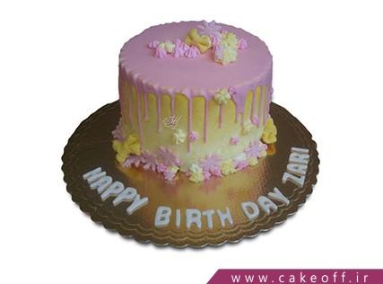 کیک تولد زیبا - کیک چکه صورتی | کیک آف