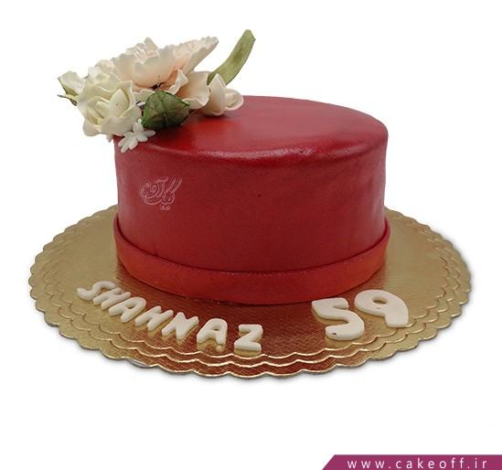 انواع کیک تولد دخترانه - کیک قرمز گلدار | کیک آف