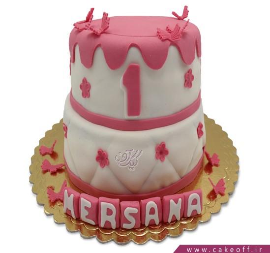 کیک دخترانه - کیک طبقاتی پروانه فوندانتی | کیک آف