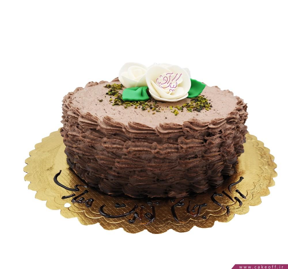 انواع کیک تولد - کیک شکلاتی گل در بر   کیک آف