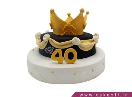 کیک تم تولد تاج - کیک تاج کوئین | کیک آف