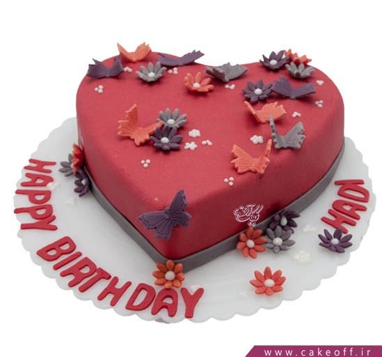 کیک عاشقانه قلب پروانه باران | کیک آف