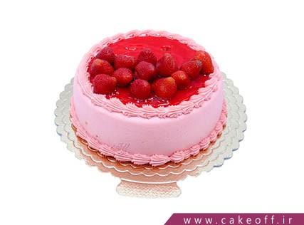 کیک تولد ساده - کیک توت فرنگی باران | کیک آف