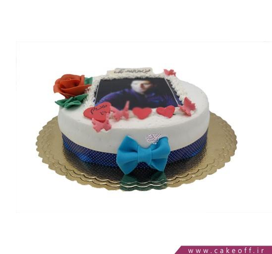 کیک تصویری قلب و پروانه