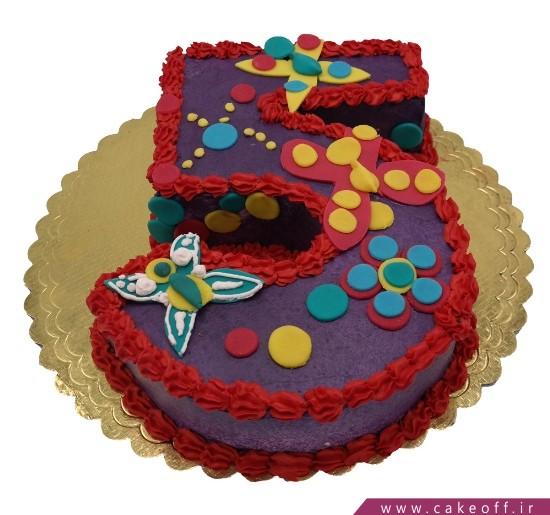 کیک تولد بچه گانه - کیک عدد پنج پروانه باران | کیک آف