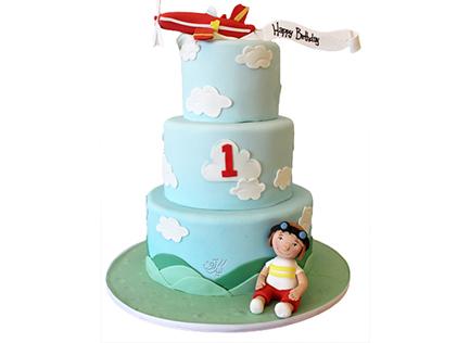 کیک تولد یکسالگی هدیه ای از آسمان | کیک آف