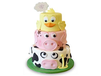 کیک تولد بچه گانه خوکی و داکی | کیک آف