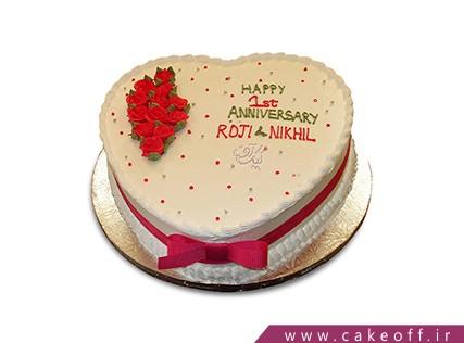 کیک سالگرد ازدواج - کیک عاشقانه یک ساله شدیم | کیک آف