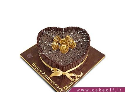 کیک سالگرد عروسی - کیک قلب گل طلا | کیک آف