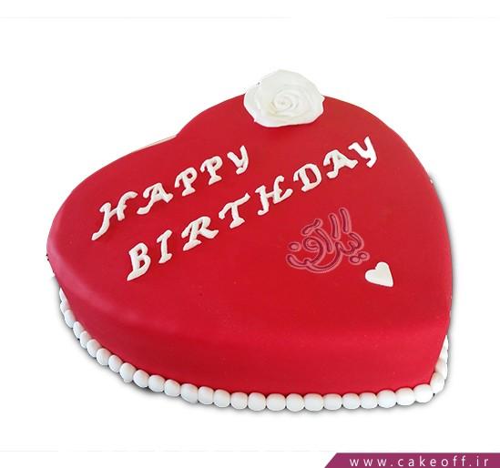 کیک تولد عاشقانه قلب مخملی | کیک آف