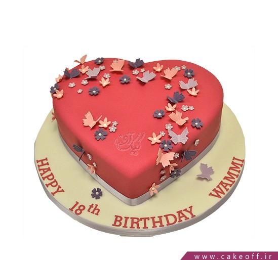 کیک قلب پروانه باران