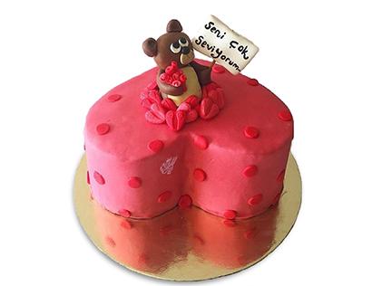 کیک سالگرد ازدواج قلب تدی | کیک آف