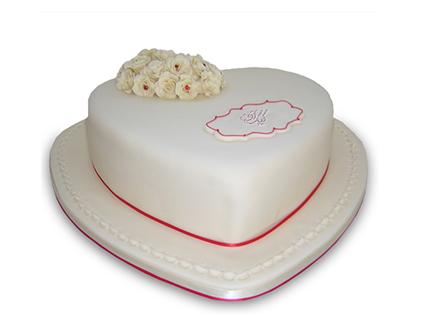 کیک سالگرد ازدواج - کیک قلب یخی گلدار | کیک آف
