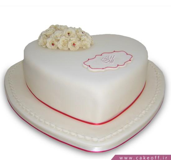 کیک قلب یخی گلدار