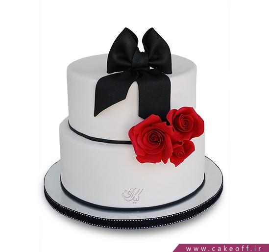 کیک گل رز -  کیک دو طبقه سه رز | کیک آف