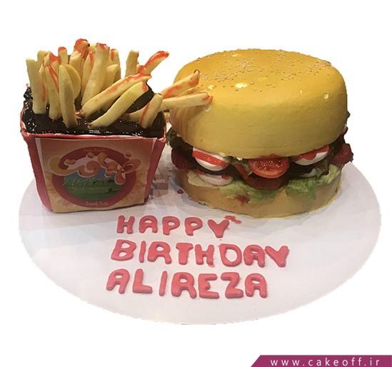 کیک تولد همبرگر کیکی