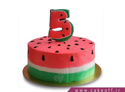 کیک شب یلدا - کیک هندونه - کیک عددی هندونه ای | کیک آف