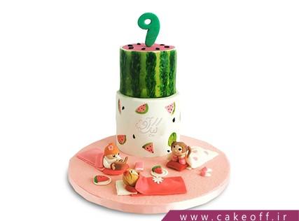 کیک شب یلدا - کیک هندوانه - کیک دورهمی با طعم هندونه | کیک آف