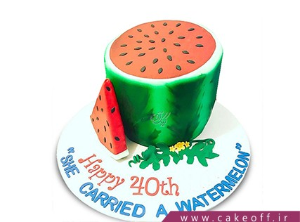 کیک شب یلدا - کیک یک هندوانه، یک قاچ و دیگر هیچ | کیک آف