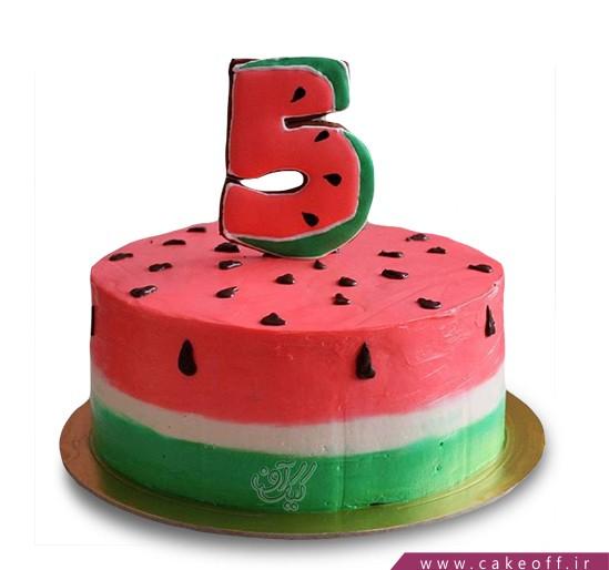 کیک شب یلدا - کیک هندونه - کیک عدد پنج هندونه ای | کیک آف