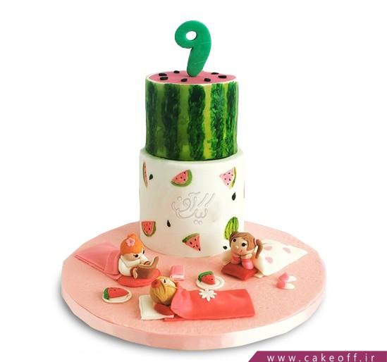 کیک شب یلدا - کیک هندوانه - کیک دورهمی با طعم هندونه   کیک آف