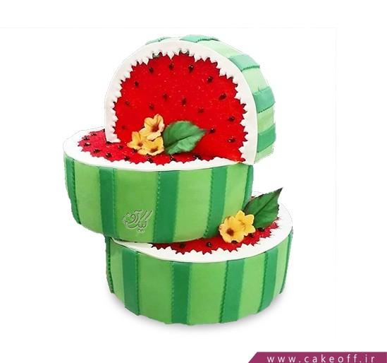 کیک شب یلدا - کیک تولد هندوانه ای - کیک هندونهی گل باران | کیک آف