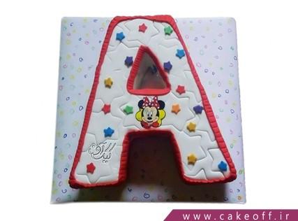 کیک تولد - کیک حرف اِی - کیک حرف A میکی ستاره ای | کیک آف
