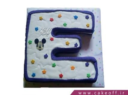 کیک تولد - کیک حرف ای - کیک حرف E میکی ستاره ای | کیک آف