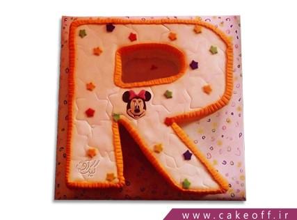 کیک تولد - کیک حرف آر - کیک حرف R میکی ستاره ای | کیک آف