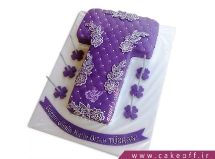 کیک تولد - کیک حرف تی - کیک حرف T ویولت | کیک آف