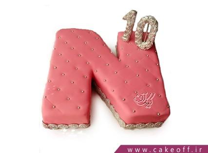 کیک تولد - کیک حرف اِن - کیک حرف N صورتی کالباسی | کیک آف
