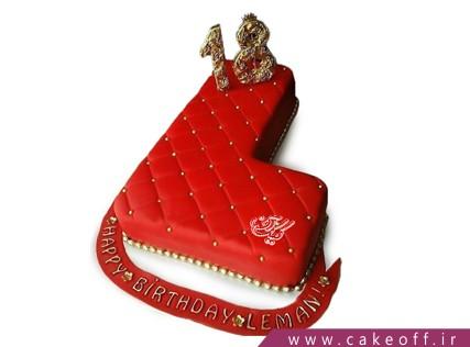کیک تولد - کیک حرف اِل - کیک حرف L قرمز مخملی | کیک آف