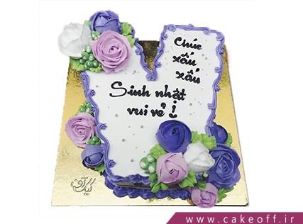 کیک تولد - کیک حرف وی - کیک حرف V گلباران | کیک آف