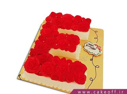 کیک تولد - کیک حرف ای - کیک حرف E گل رز | کیک آف