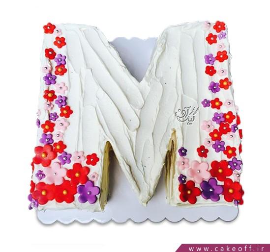 کیک حرف M شکوفه ای