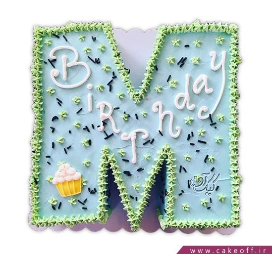 سفارش کیک تولد - کیک حرف ام - کیک حرفM آبی آسمونی | کیک آف