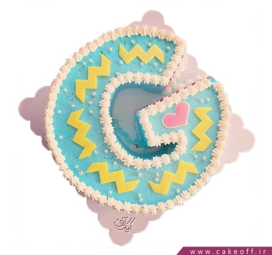 سفارش کیک تولد - کیک حرف جی - کیک حرف G آبی آسمونی | کیک آف