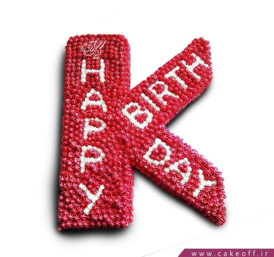 کیک حرف K قرمز