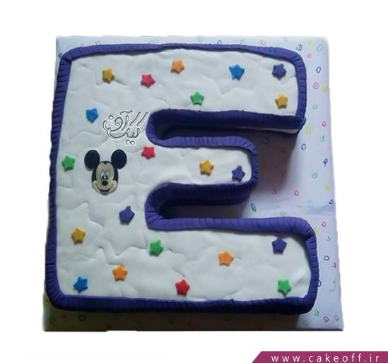 کیک حرف E میکی ستاره ای