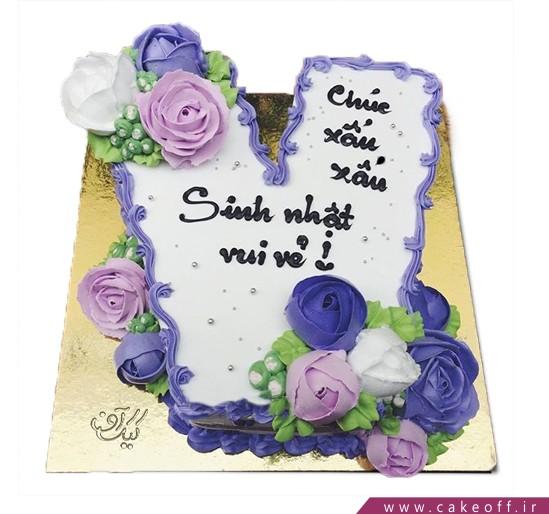 کیک حرف V گلباران