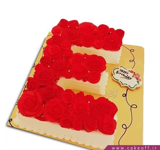 کیک حرف E گل رز