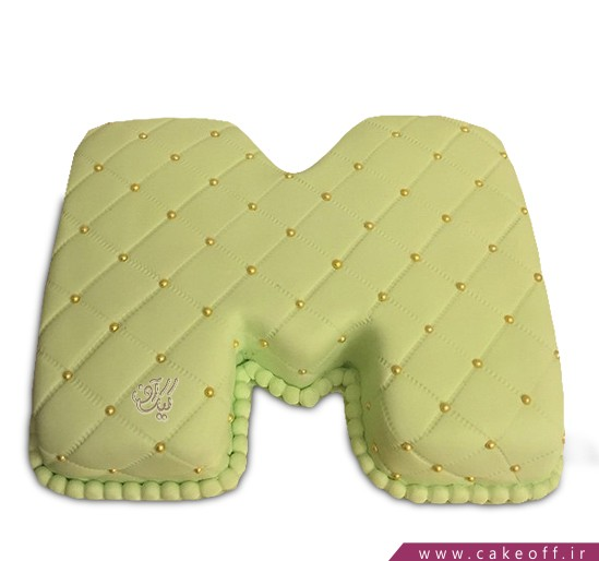 کیک حرف M سبز چمنی