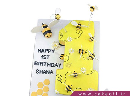 کیک تولد زنبوری - کیک تولد نوزاد - کیک عدد یک زنبور طلا | کیک آف