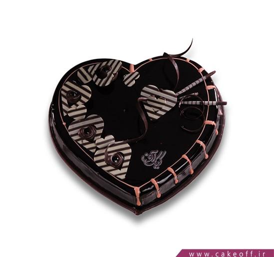 کیک یه قلب پر از شکلات