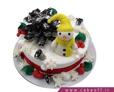 کیک وانیلی - کیک تولد آدم برفی جنتلمن | کیک آف