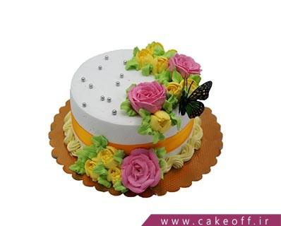 کیک تولد ساده - کیک ساده پروانه و گل | کیک آف
