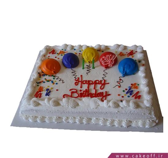کیک تولدت مبارک بادکنکی | کیک آف