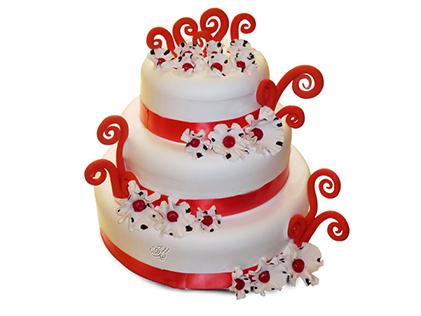 خرید اینترنتی کیک - کیک فوندانت موج و گل | کیک آف