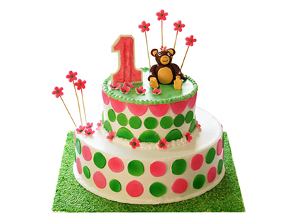 خرید آنلاین کیک - کیک تولد بچه گانه میمون بانمک | کیک آف